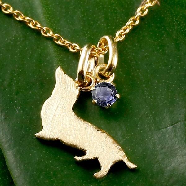 メンズ 犬 ネックレス アイオライト 一粒 ペンダント ダックス ダックスフンド イエローゴールドk18 18金 いぬ イヌ 犬モチーフ チェーン 人気 宝石 父の日