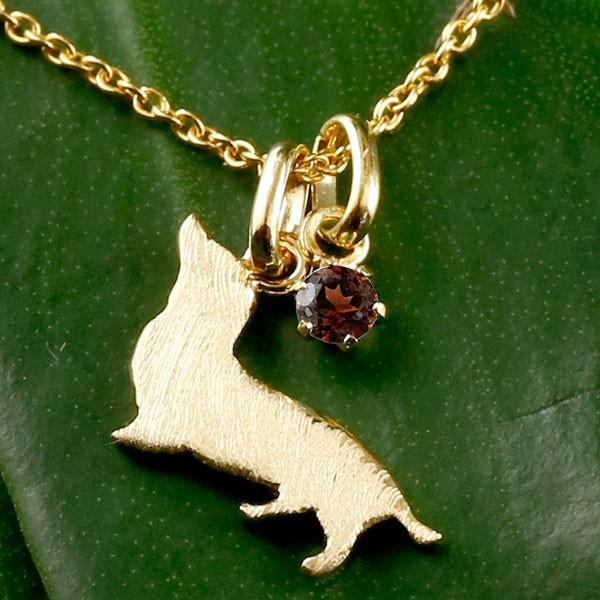 メンズ 犬 ネックレス ガーネット 一粒 ペンダント ダックス ダックスフンド イエローゴールドk18 18金 いぬ イヌ 犬モチーフ 1月誕生石 チェーン 人気 宝石