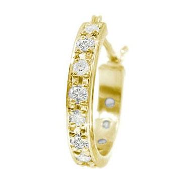ピアス メンズ フープピアス ダイヤモンド ピアス 片耳 スタッド イエローゴールドk18ダイヤ 18金 男性用 宝石 18k ピアス リング