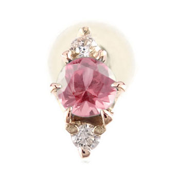ピアス メンズ 片耳ピアス ピンクサファイア ダイヤモンド ピンクゴールドk18 9月誕生石ダイヤ 18金 男性用 宝石 18k 父の日