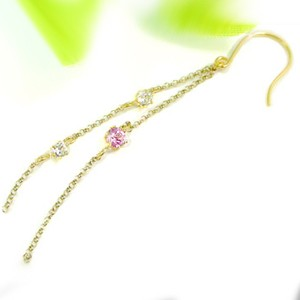 ピアス メンズ 片耳ピアスチェーンピアスダイヤモンド ピンクサファイアイエローゴールドk18 ロングピアス ピアスゴールドダイヤ 18金 チェーン 男性用 宝石 18k