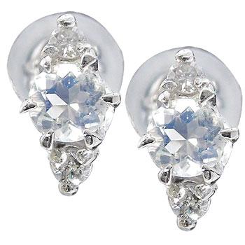 ピアス メンズ プラチナ ブルームーンストーンピアスダイヤモンド プラチナ 天然石ダイヤ 男性用 宝石 送料無料