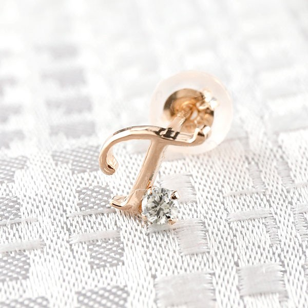ピアス メンズ イニシャル ネーム 普段使い 安い 片耳 T ピアス ダイヤモンド ピンクゴールドk18 アルファベット 18金 ピアス メンズ 人気 送料無料 父の日