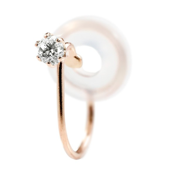 メンズ ノンホールピアス イヤリング ピアス 片耳 ダイヤモンド ピンクゴールドk18 シリコン クリップ式 メンズ18金 送料無料 父の日