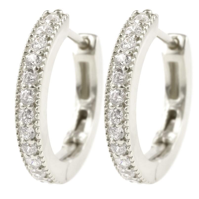 プラチナ フープピアス メンズ ダイヤモンド pt900 リング 中折れ式 ステンレスバネ入り ミル打ち ピアス シンプル ダイヤ 男性 人気 宝石 送料無料 父の日