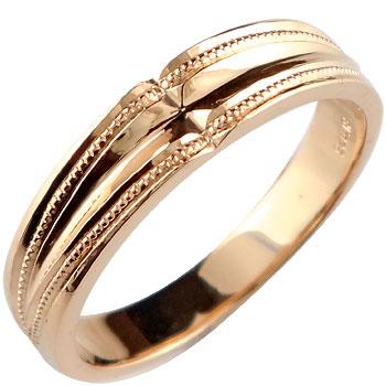 メンズリング 人気 クロス リング 幅広 指輪 ピンクゴールドk18 ミル打ち 18金ピンキーリング ストレート 男性用 贈り物 誕生日プレゼント ギフト エンゲージリングのお返し 送料無料