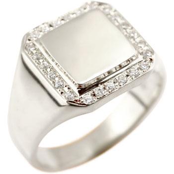 メンズ リング 印台 指輪 キュービックジルコニア シルバーストレート 男性用 贈り物 誕生日プレゼント ギフト エンゲージリングのお返し 送料無料