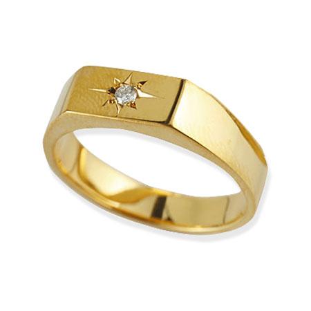 メンズ リング ダイヤモンド 印台 指輪 イエローゴールドk18 18金ピンキーリング ダイヤ ストレート 男性用 贈り物 誕生日プレゼント ギフト エンゲージリングのお返し 送料無料