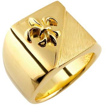 メンズ 印台リング 幅広 指輪 ユリの紋章 イエローゴールドk18 ピンキーリング 18金ストレート 男性用 贈り物 誕生日プレゼント ギフト エンゲージリングのお返し 送料無料