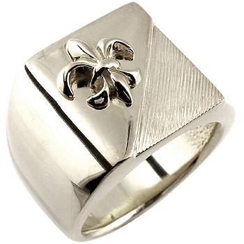 お手頃価格 メンズ プラチナ 印台リング 幅広 指輪 ユリの紋章 ピンキーリングストレート 男性用 フルール・ド・リス 送料無料, mili an deni ミリアンデニ a3ef1fee