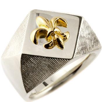 メンズ 印台リング 幅広 指輪 ユリの紋章 シルバー イエローゴールドk18 コンビリング ピンキーリング18金 ストレート 男性用 贈り物 誕生日プレゼント ギフト エンゲージリングのお返し 送料無料