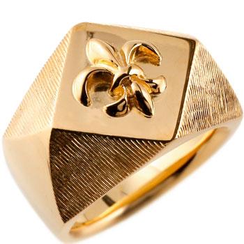 メンズ 印台リング 幅広 指輪 ユリの紋章 ピンキーリング ピンクゴールドk18 18金ストレート 男性用 贈り物 誕生日プレゼント ギフト エンゲージリングのお返し 送料無料