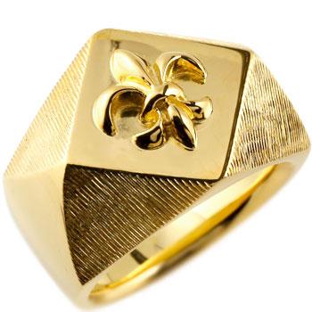 メンズ 印台リング 幅広 指輪 ユリの紋章 ピンキーリング イエローゴールドk18 18金ストレート 男性用 贈り物 誕生日プレゼント ギフト エンゲージリングのお返し 送料無料