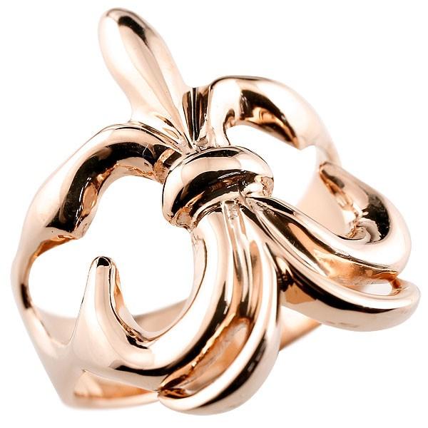 メンズ リング ユリの紋章 ピンクゴールドk10 幅広 指輪 ピンキーリング 地金 ストレート 10金 男性用 贈り物 誕生日プレゼント ギフト フルール・ド・リス エンゲージリングのお返し 送料無料