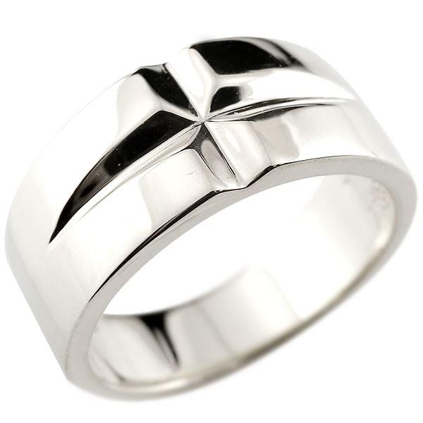 メンズ クロス プラチナリング 幅広 指輪 ピンキーリング 地金 ストレートpt900 男性用 送料無料