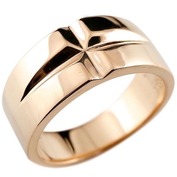 メンズ クロス リング ピンクゴールドk10 幅広 指輪 ピンキーリング 地金 ストレート10金 男性用 送料無料