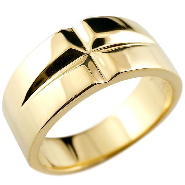 メンズ クロス リング イエローゴールドk18 幅広 指輪 ピンキーリング 地金 ストレート18金 男性用 送料無料 父の日