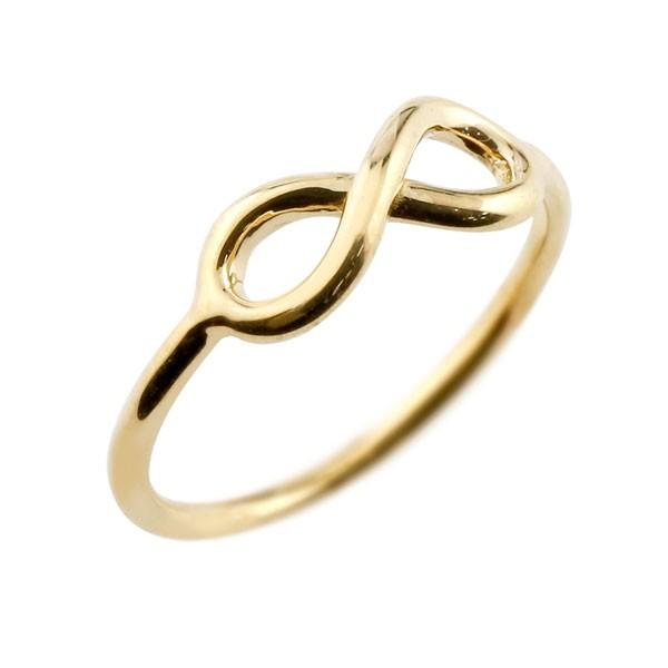 メンズ ピンキーリングリング イエローゴールドk18 インフィニティ リング 指輪 ストレート 18金