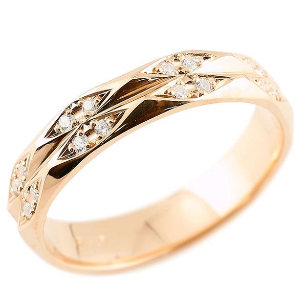あなたを輝かせるシンボルリング 送料無料 メンズ 指輪 ダイヤモンド ピンクゴールドk18 ダイヤリング 指輪 婚約指輪 カットリング 菱形 18金 宝石 贈り物 誕生日プレゼント ギフト エンゲージリングのお返し