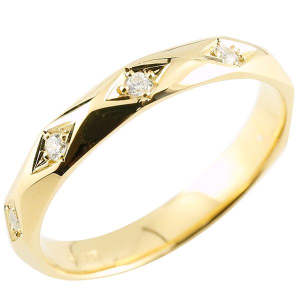 メンズ リング ダイヤモンド イエローゴールドk18 ダイヤモンドリング 指輪 婚約指輪 カットリング 菱形 18金 男性用 宝石 贈り物 誕生日プレゼント ギフト エンゲージリングのお返し 父の日