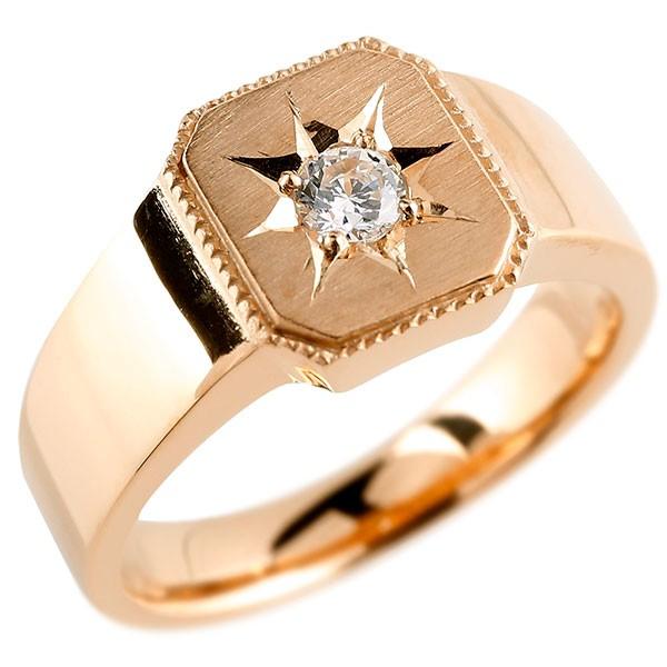 メンズ ダイヤモンド ピンクゴールドk18 リング 印台 指輪 ダイヤ 一粒 ダイヤモンドリング 18金 ストレート 男性用 贈り物 誕生日プレゼント ギフト エンゲージリングのお返し