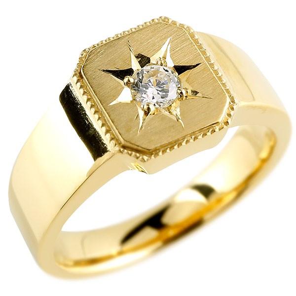 メンズ ダイヤモンド イエローゴールドk18 リング 印台 指輪 ダイヤ 一粒 ダイヤモンドリング 18金 ストレート 男性用 贈り物 誕生日プレゼント ギフト エンゲージリングのお返し