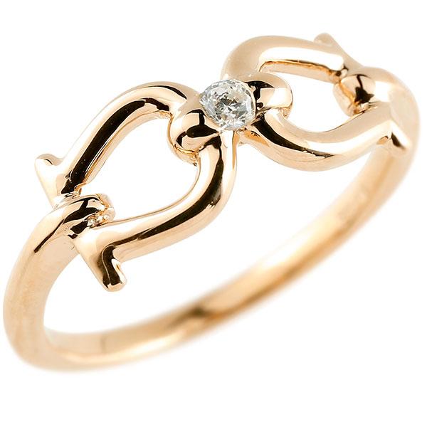 メンズ 鐙 馬具 ダイヤモンド ピンクゴールドk10 リング 指輪 ダイヤ 一粒 ダイヤモンドリング 10金 ホース 乗馬 男性用 贈り物 誕生日プレゼント ギフト エンゲージリングのお返し 父の日