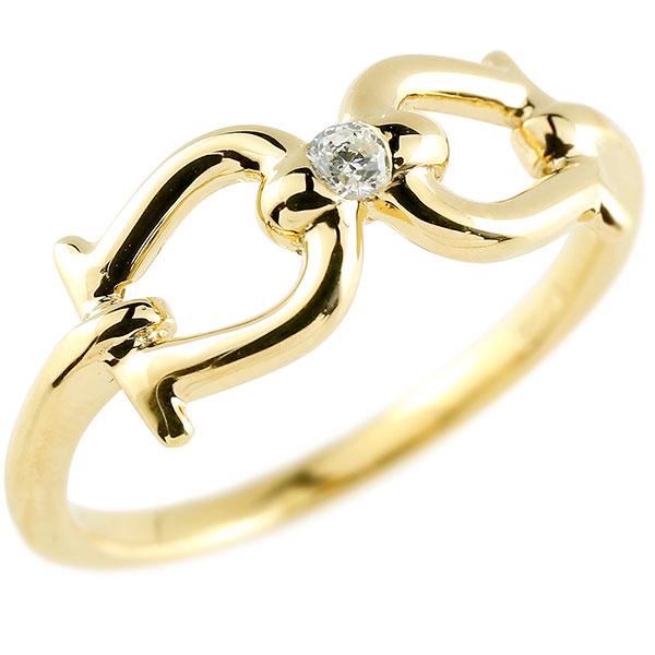 メンズ 鐙 馬具 ダイヤモンド イエローゴールドk18 リング 指輪 ダイヤ 一粒 ダイヤモンドリング 18金 ホース 乗馬 男性用 贈り物 誕生日プレゼント ギフト エンゲージリングのお返し