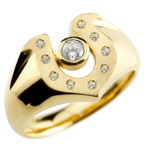メンズ 馬蹄 ダイヤモンド イエローゴールドk18 リング 印台 指輪 ダイヤ 一粒 ダイヤモンドリング 18金 蹄鉄 幅広 ストレート 男性用 贈り物 誕生日プレゼント ギフト エンゲージリングのお返し 父の日