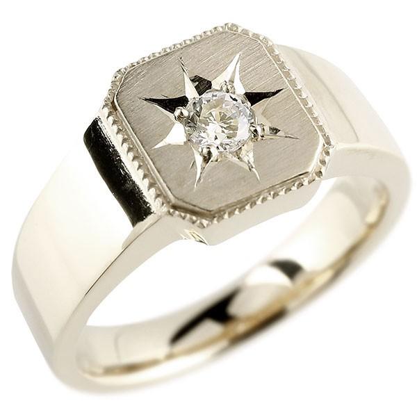 メンズ ダイヤモンド シルバーリング 印台 指輪 ダイヤ 一粒 ダイヤモンドリング sv925 ストレート 男性用 贈り物 誕生日プレゼント ギフト エンゲージリングのお返し
