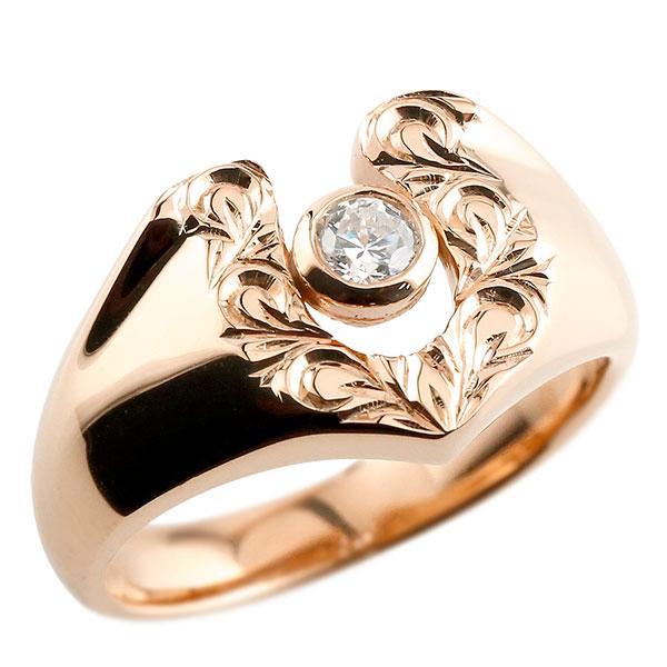 メンズ ハワイアン キュービックジルコニア ピンクゴールドk10 リングスクロール 印台 指輪 一粒 10金 蹄鉄 幅広 ストレート 男性用 贈り物 誕生日プレゼント ギフト エンゲージリングのお返し