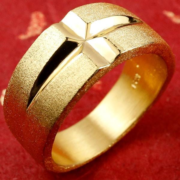 純金 メンズ 24金 ゴールド クロス リング 幅広 指輪 地金 ストレート 男性用 エンゲージリングのお返し 送料無料