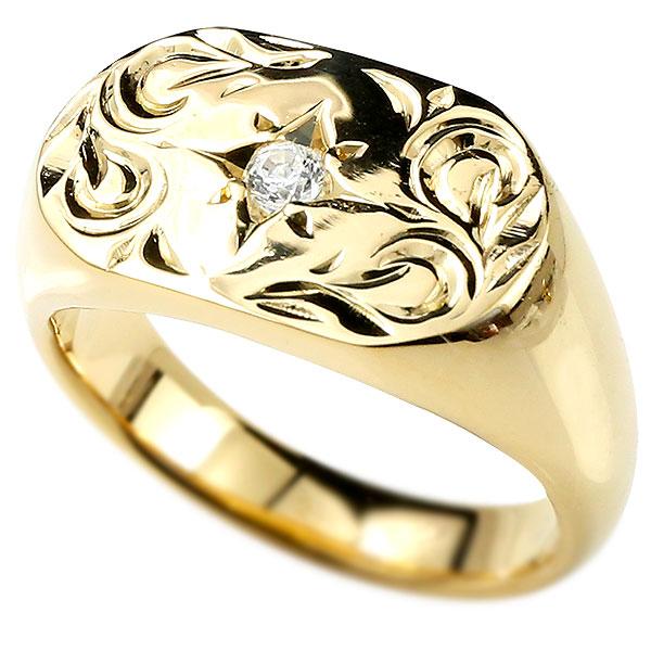 熱販売 メンズ ハワイアンジュエリー リング ダイヤモンド イエローゴールドk18 印台 18金 ダイヤ 指輪 リング 幅広 ハワイアン スクロール ダイヤ 一粒 18金 男性用 エンゲージリングのお返し, Ginza Surveying Supplies:f183d726 --- crisiskw.com