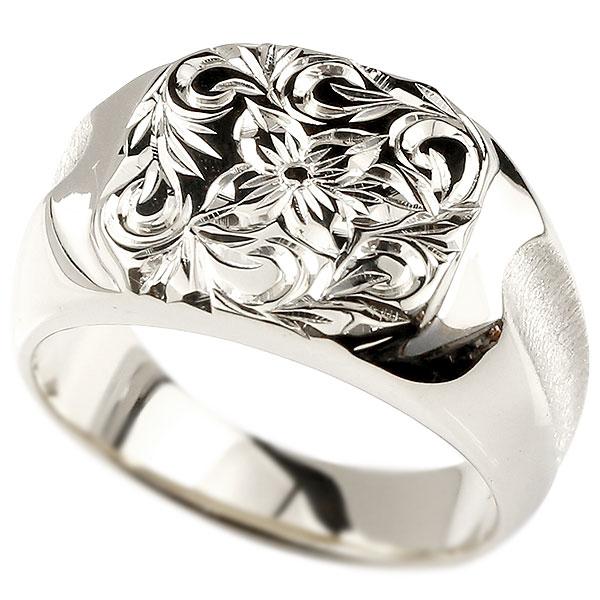 メンズ ハワイアンジュエリー プラチナリング 印台 指輪 pt900 幅広 ハワイアン スクロール プルメリア 男性用 エンゲージリングのお返し