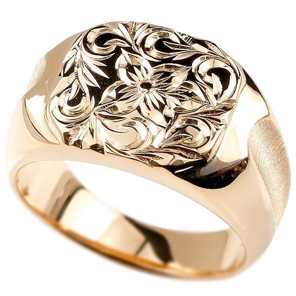 メンズ ハワイアンジュエリー リング 印台 ピンクゴールドk18 指輪 幅広 ハワイアン スクロール プルメリア 18金 男性用 エンゲージリングのお返し
