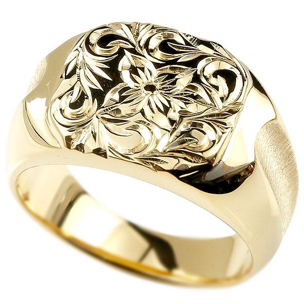 メンズ ハワイアンジュエリー リング 印台 イエローゴールドk10 指輪 幅広 ハワイアン スクロール プルメリア 10金 男性用 エンゲージリングのお返し 父の日