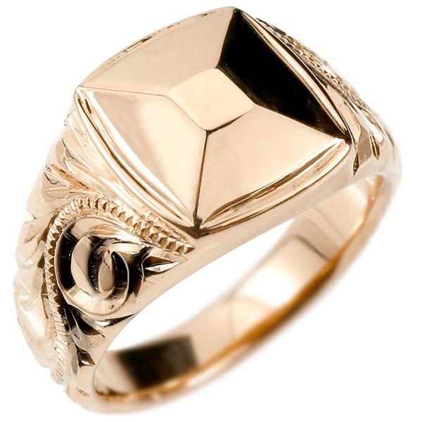 メンズ ハワイアンジュエリー リング ピンクゴールドk10 印台 幅広 指輪 10金 ハワイアン スクロール マイレ ミル打ち 男性用 エンゲージリングのお返し 父の日