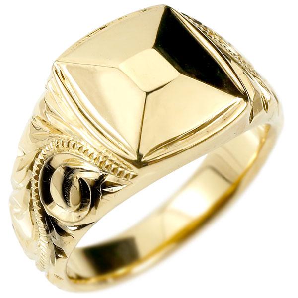 メンズ ハワイアンジュエリー リング イエローゴールドk10 印台 幅広 指輪 10金 ハワイアン スクロール マイレ ミル打ち 男性用 エンゲージリングのお返し