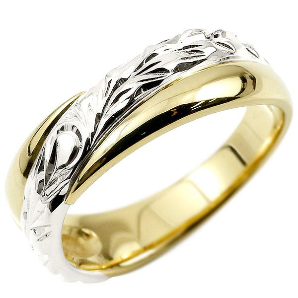 ハワイアンジュエリー メンズリング 婚約指輪 プラチナ エンゲージリング ピンキーリング リング 指輪 一粒 イエローゴールドk10 10金コンビ 10k エンゲージリングのお返し