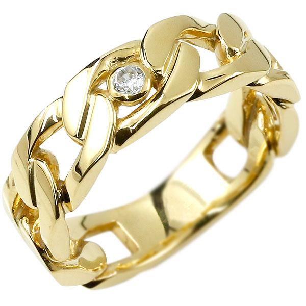 メンズ 喜平 リング ダイヤモンド イエローゴールドk10 喜平リング 指輪 10金 キヘイ 鎖 ダイヤ 一粒 幅広 男性用 エンゲージリングのお返し