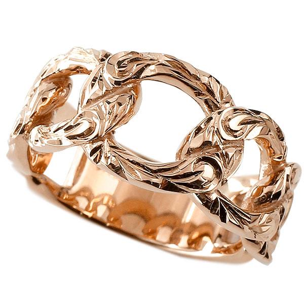 メンズ 喜平 リング ハワイアンジュエリー ピンクゴールドk18 18金 喜平リング 指輪 キヘイ 鎖 地金 スクロール マイレ 波 幅広 男性用 エンゲージリングのお返し
