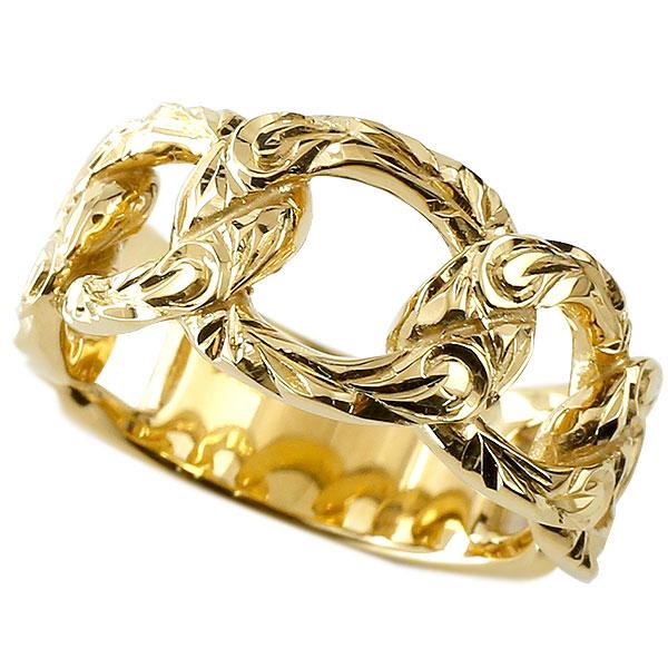 メンズ 喜平 リング ハワイアンジュエリー イエローゴールドk10 喜平リング 指輪 10金 キヘイ 鎖 地金 スクロール マイレ 波 幅広 男性用 エンゲージリングのお返し