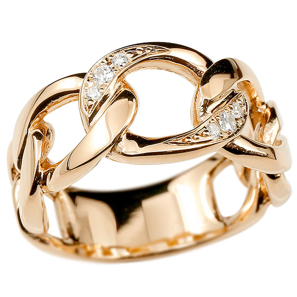 メンズ 喜平 リング ダイヤモンド ピンクゴールドk10 喜平リング 指輪 10金 キヘイ 鎖 ダイヤ 幅広 男性用 エンゲージリングのお返し