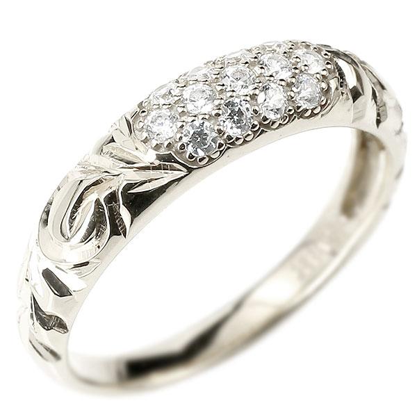 メンズ ハワイアンジュエリー ダイヤモンドリング パヴェ ホワイトゴールドk18 リング 指輪 ピンキーリング 18金 k18 男性用 ストレート エンゲージリングのお返し 2019