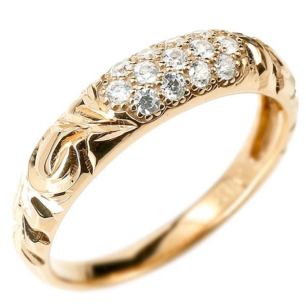 メンズジュエリー シンプル ダイヤモンドリング 送料無料 メンズ ハワイアンジュエリー ダイヤモンドリング パヴェ ピンクゴールドk10 リング 指輪 ピンキーリング 10金 k10 男性用 ストレート エンゲージリングのお返し