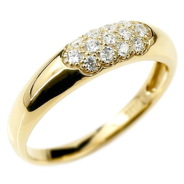 メンズ ダイヤモンドリング パヴェ イエローゴールドk18 リング 指輪 ピンキーリング k18 男性用 ストレート 18金 エンゲージリングのお返し