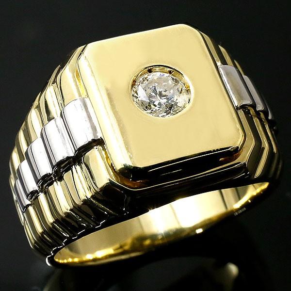 新作 メンズ ダイヤモンドリング イエローゴールドk18 プラチナ 指輪 印台 ダイヤ 一粒 大粒 pt900 18金 幅広 コンビ ピンキーリング 男性用 人気