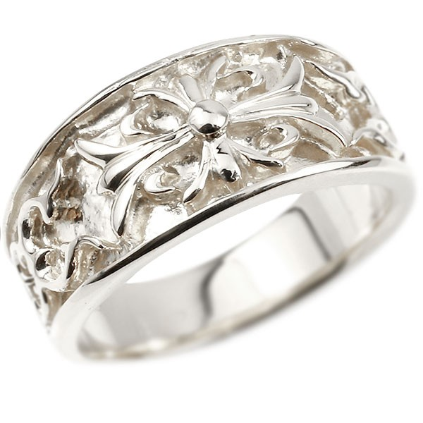 メンズ プラチナリング クロス ユリの花 幅広 指輪 地金 リング シンプル 宝石なし pt900 ピンキーリング フルール・ド・リス 男性用 父の日
