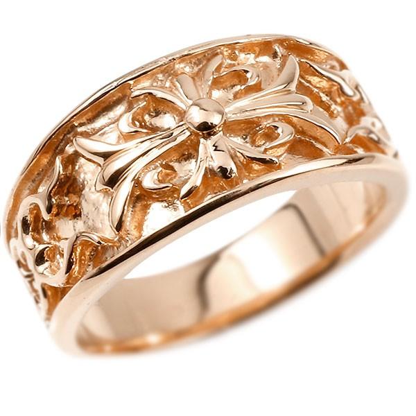 メンズ リング ピンクゴールドk10 クロス ユリの花 幅広 指輪 地金 リング シンプル 宝石なし ピンキーリング フルール・ド・リス 10金 男性用