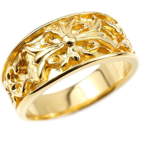 メンズ リング イエローゴールドk10 クロス ユリの花 幅広 指輪 地金 リング シンプル 宝石なし ピンキーリング フルール・ド・リス 10金 男性用
